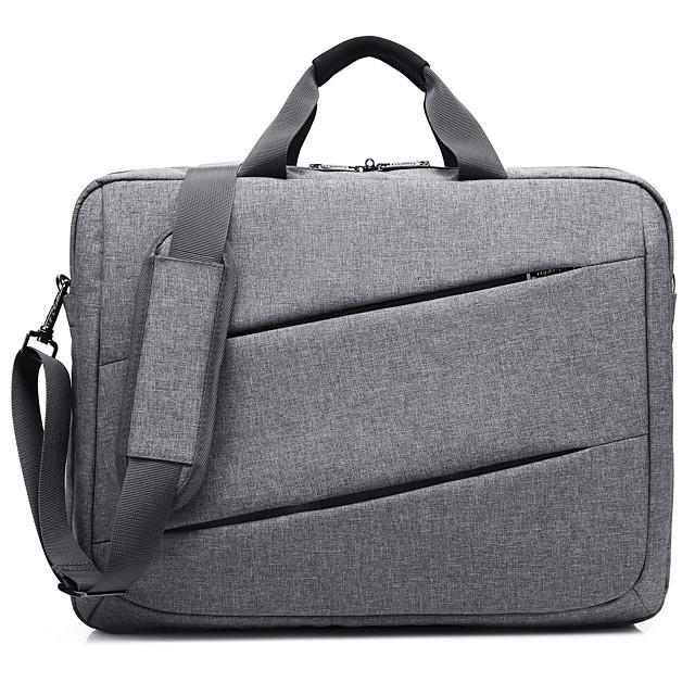 Unisex Waterproof Nylon Laptop Bag Zipper Solid Color Daily Office & Career Black Dark Blue Gray
