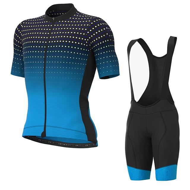 Men's Short Sleeve Cycling Jersey with Bib Shorts Elastane Black / Blue Bike Sports Clothing Apparel