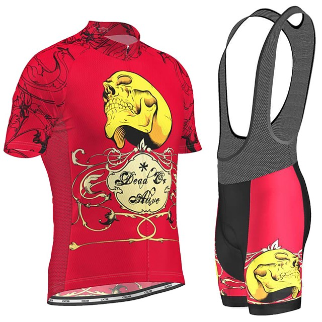 Men's Short Sleeve Cycling Jersey with Bib Shorts Red Skull Bike Breathable Sports Graphic Mountain Bike MTB Road Bike Cycling Clothing Apparel / Stretchy / Athleisure