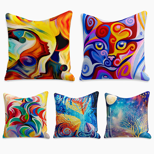 5 pcs Linen Pillow Cover, Tie Dyed Simple Casual Square Polyester Traditional Classic