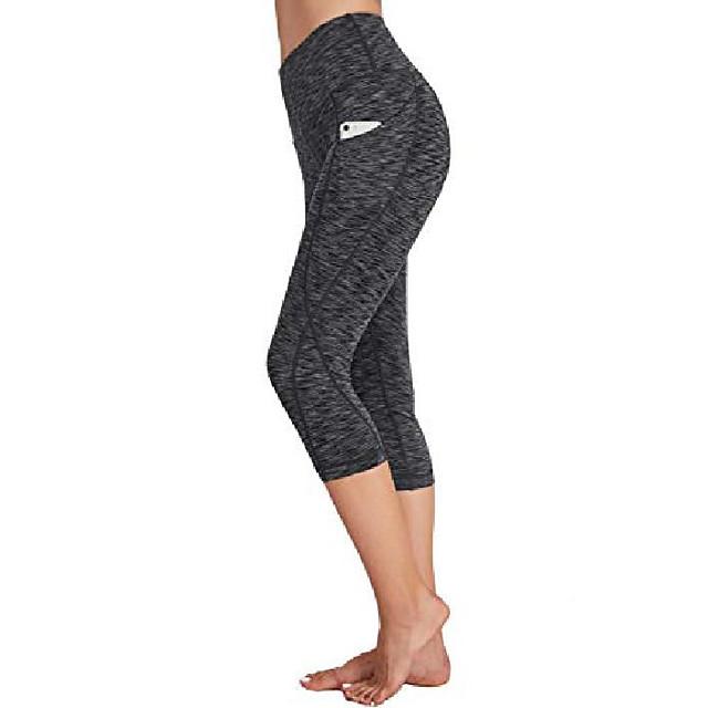 yogabukser med lommer til kvinder - høj talje sport runing træning capri leggings mørk grå stor