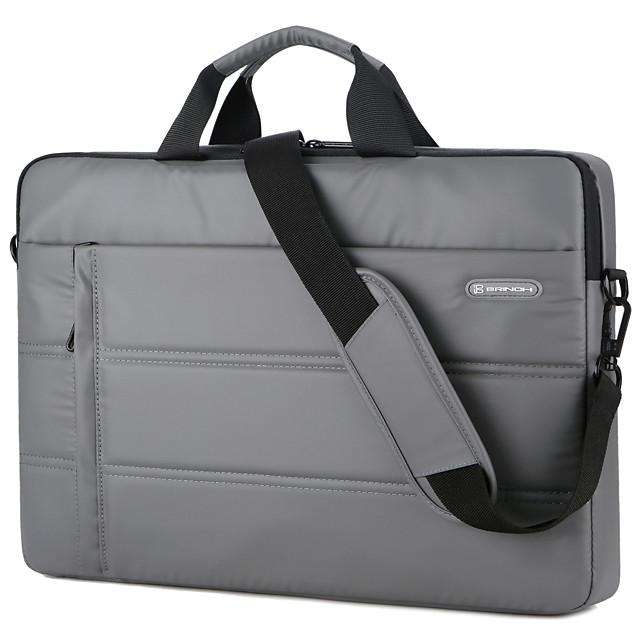 Unisex Waterproof PU Laptop Bag Zipper Solid Color Daily Office & Career Black Brown Gray