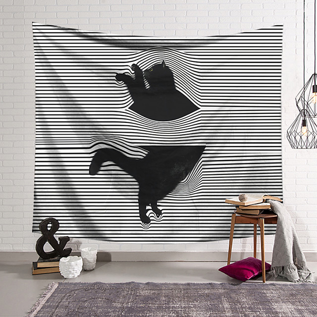 Wall Tapestry Art Decor Blanket Curtain Hanging Home Bedroom Living Room Decoration Naughty Black Cat