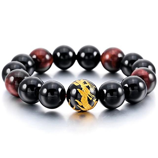 black silver tone 14mm bracelet link wrist simulated agate buddha mala bead
