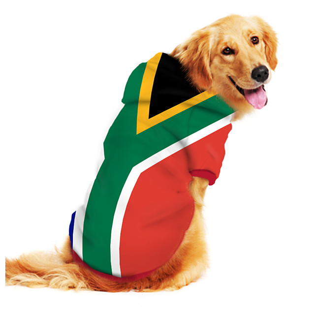 Dog Hoodie Sweatshirt Print Flag National Flag Fashion Cool Funny Casual / Daily Outdoor Dog Clothes Puppy Clothes Dog Outfits Breathable Green Costume for Girl and Boy Dog Polyster S M L XL