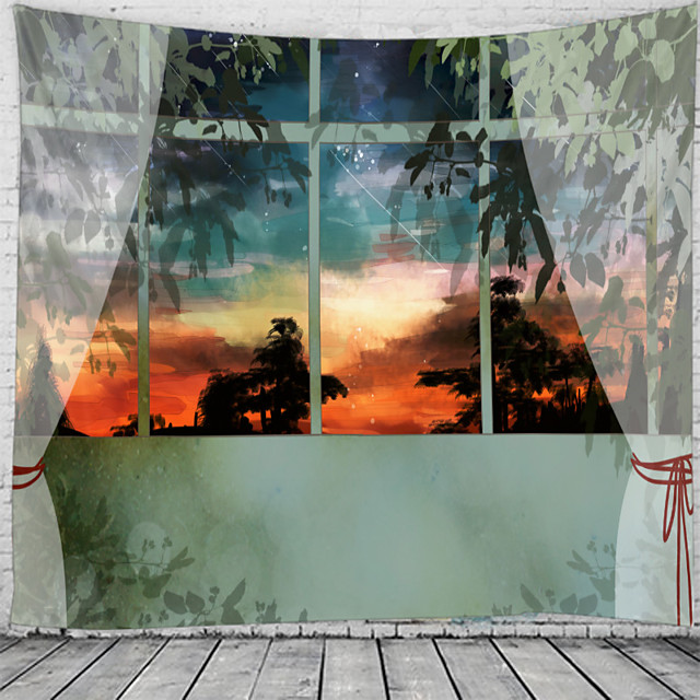 Window Landscape Wall Tapestry Art Decor Blanket Curtain Hanging Home Bedroom Living Room Decoration Sunset Tree