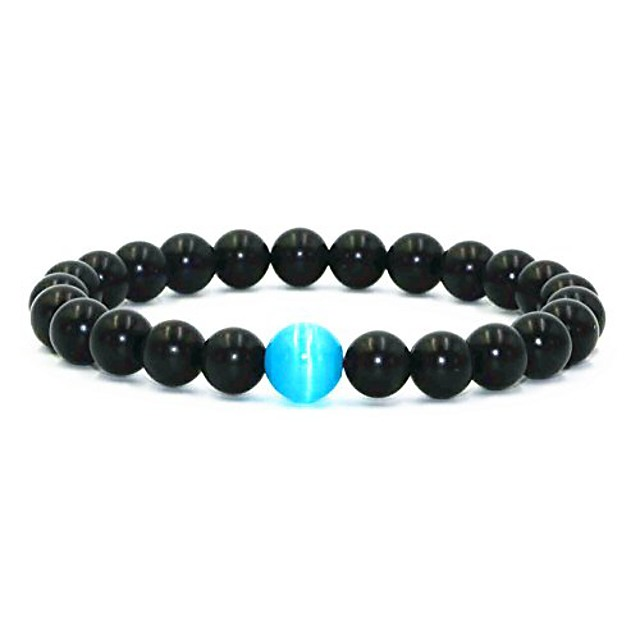 blue cat's eye beads glossy agate beads elastic energy bracelet for mens (glossy agate beads) 8 inches