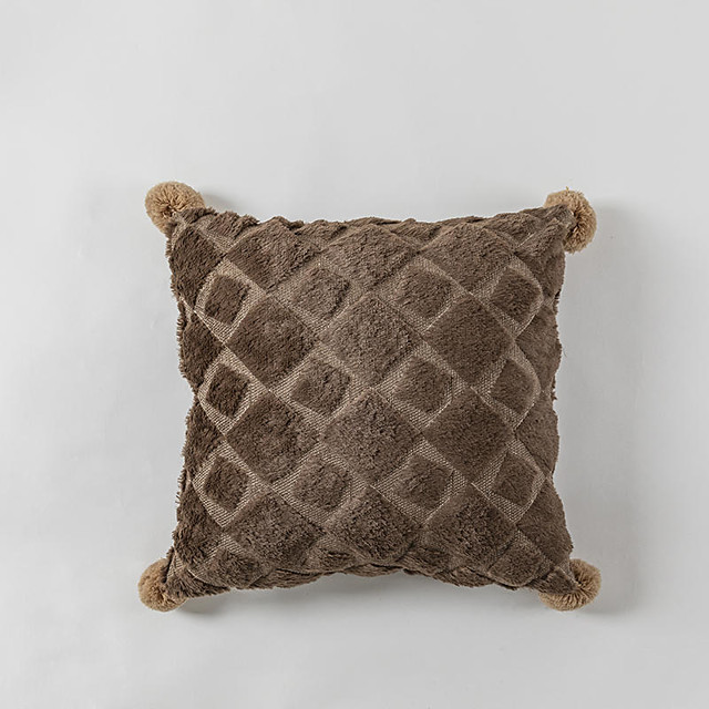 1 pcs Polyester Pillow Cover, Tassel Luxury Modern Square Zipper Traditional Classic
