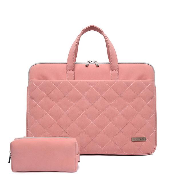 Unisex Waterproof PU Laptop Bag Zipper Solid Color Daily Office & Career Pink Beige Dark Blue