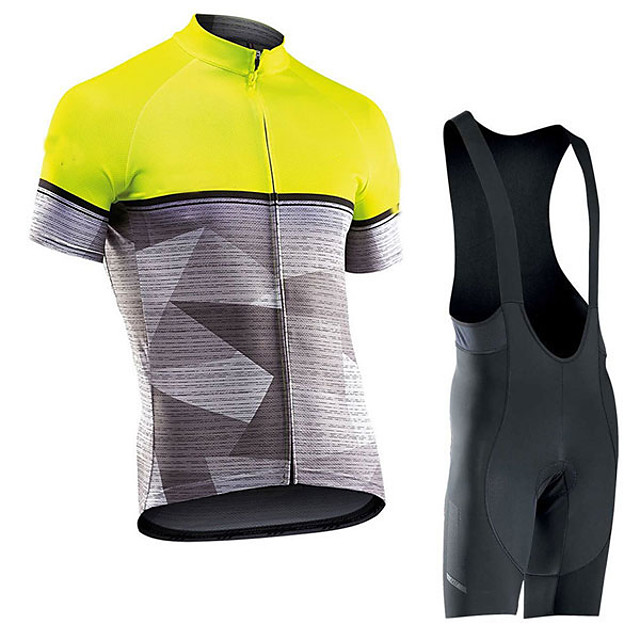 Men's Short Sleeve Cycling Jersey with Bib Shorts Elastane Grey Bike Sports Clothing Apparel