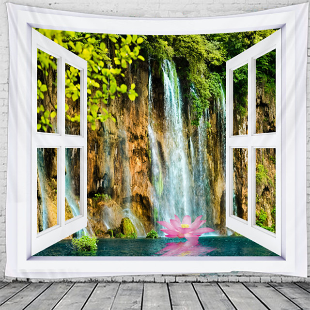 Window Landscape Wall Tapestry Art Decor Blanket Curtain Hanging Home Bedroom Living Room Decoration Waterfall Lotus