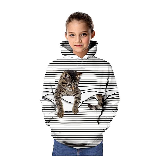 Kids Girls' Hoodie & Sweatshirt Long Sleeve Cat Graphic 3D Animal Print White Purple Red Children Tops Active