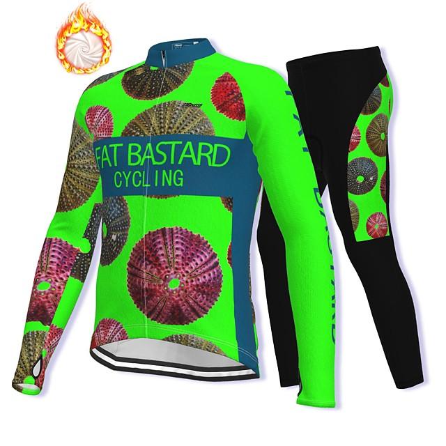 21Grams Men's Long Sleeve Cycling Jacket with Pants Winter Fleece Spandex Green Bike Fleece Lining Warm Sports Graphic Mountain Bike MTB Road Bike Cycling Clothing Apparel / Stretchy / Athleisure