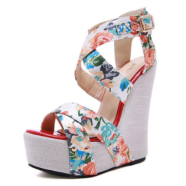 Women's Sandals Wedge Heel Open Toe Wedge Sandals Classic Daily PU Color Block Nude