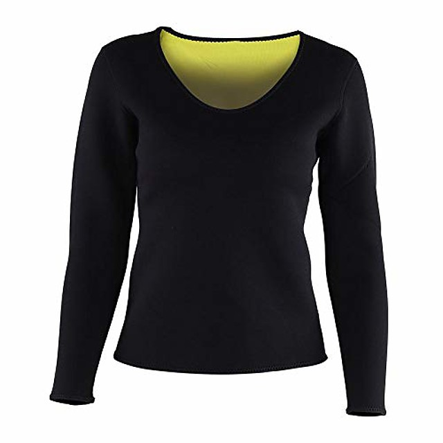 Women Waist Trainer Hot Neoprene Shirt Sauna Suit Sweat Body Shaper Shirt Slimming Long Sleeves Shirt (M)