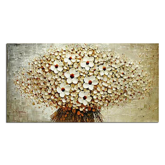 Oil Painting Hand Painted Vertical Abstract Floral / Botanical Modern Stretched Canvas