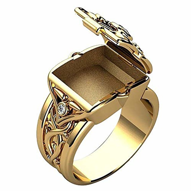 Gold and Silver color Lion Ring with secret compartment