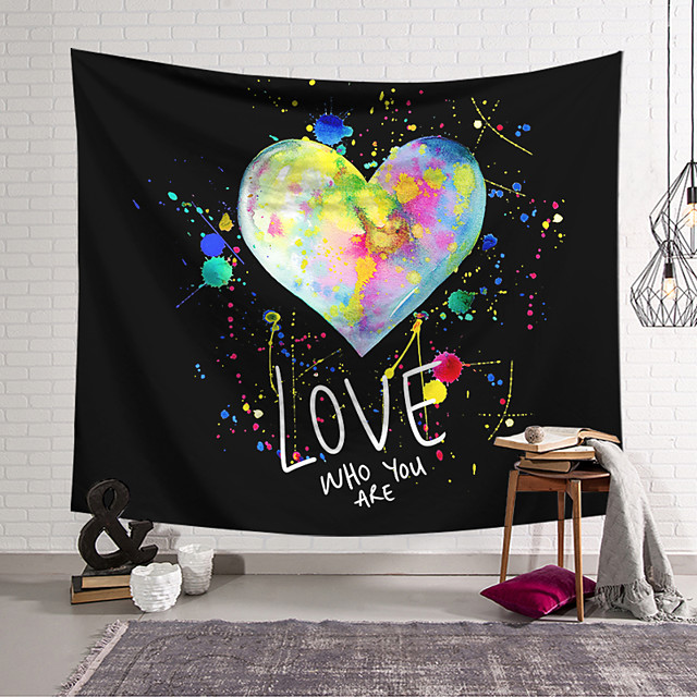 Valentine's Day Wall Tapestry Art Decor Blanket Curtain Hanging Home Bedroom Living Room Decoration Love Heart Graffiti