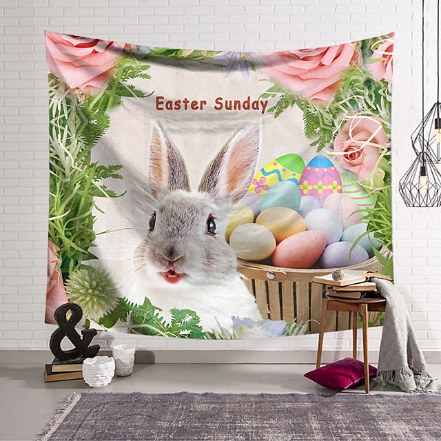 Happy Easter Happy Easter Wall Tapestry Art Decor Blanket Curtain Hanging Home Bedroom Living Room Decoration Polyester Rabbit Spring Bunny Egg
