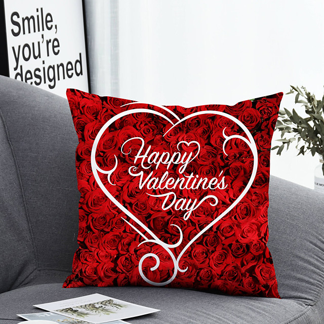 1 pcs Polyester Pillow Cover & Insert, Heart Simple Classic Square Zipper Polyester Traditional Classic