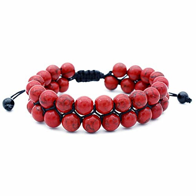 Men Women 8mm Lava Rock Volcanic Stone Beads Energy Yoga Elastic Natural Agate Frosted Pendant Bracelet Jewelry (Red)