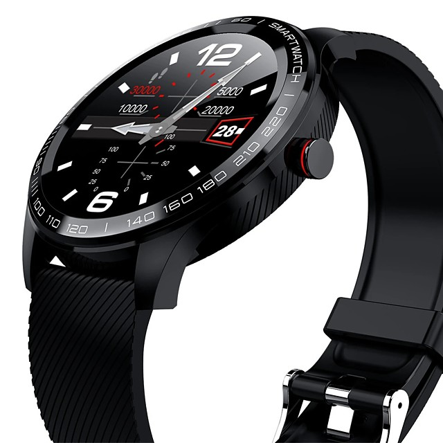 Microwear L9 Full Round Touch Screen Stainless Steel Bezel Heart Rate SpO2 Monitor IP68 Waterproof Message Display Business Smart Watch