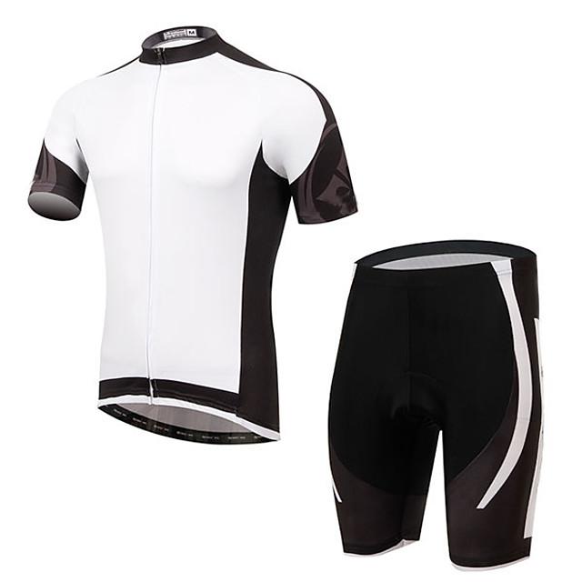 Men's Short Sleeve Cycling Jersey with Bib Shorts Elastane White Bike Sports Clothing Apparel