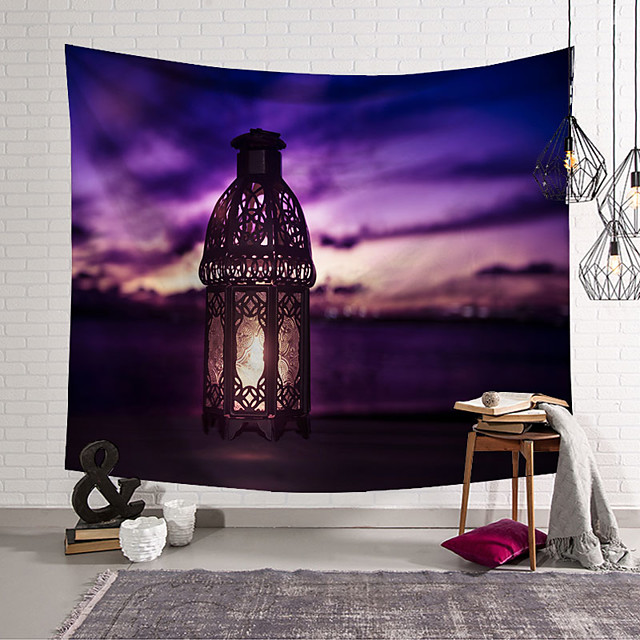 wall tapestry art decor blanket curtain hanging home bedroom living room decoration purple cloud lantern polyester