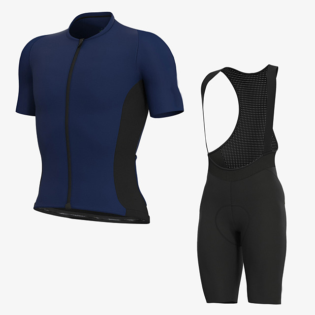 Men's Short Sleeve Cycling Jersey with Bib Shorts Elastane Blue Bike Sports Clothing Apparel