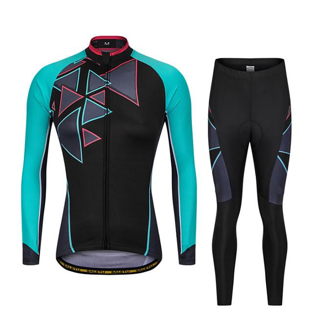 Men's Long Sleeve Cycling Jersey with Bib Tights Winter Elastane Black / Blue Pink / Black Bike Sports Clothing Apparel