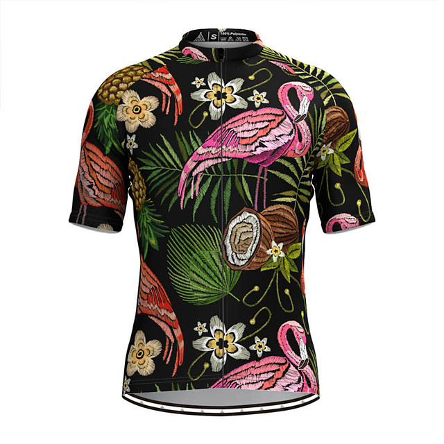 Men's Short Sleeve Cycling Jersey Black Flamingo Floral Botanical Bike Top Mountain Bike MTB Road Bike Cycling Breathable Sports Clothing Apparel / Stretchy / Athletic