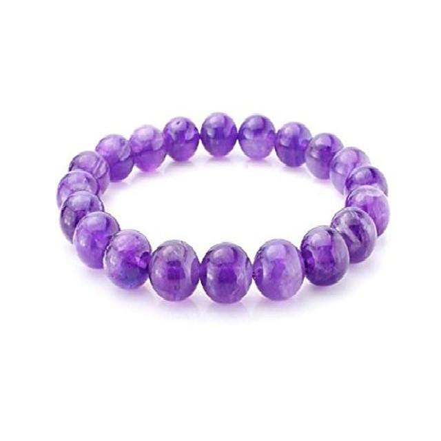 natural grade a purple amethyst bracelet 7.5 inch stretchy gemstone bracelet chakra gems stones healing crystal birthday gift (unisex) gb8-b7