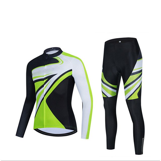Men's Long Sleeve Cycling Jersey with Tights Winter Elastane Green / Black Bike Sports Clothing Apparel