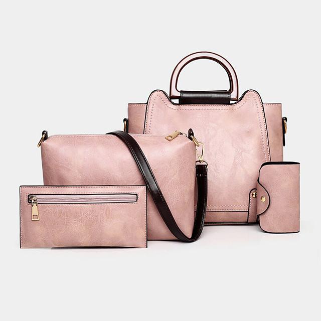 women 4pcs retro anti theft large capacity shoulder bag handbag