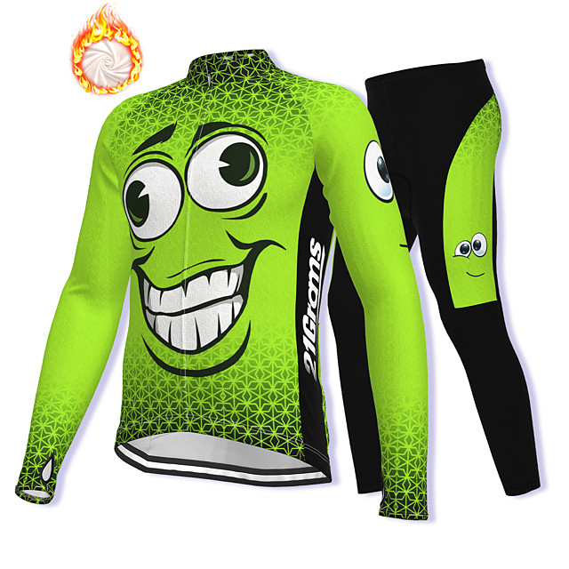 21Grams Men's Long Sleeve Cycling Jacket with Pants Winter Fleece Spandex Green Bike Fleece Lining Warm Sports Graphic Mountain Bike MTB Road Bike Cycling Clothing Apparel / Stretchy / Athleisure