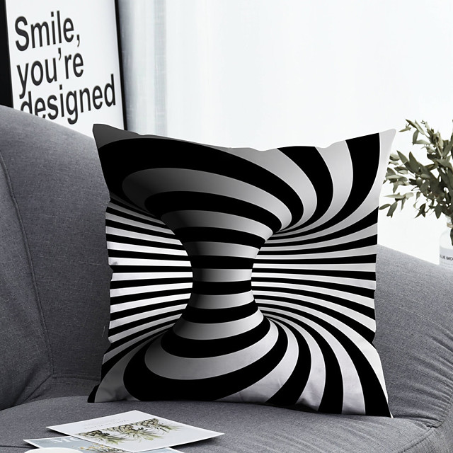 1 pcs Polyester Pillow Cover & Insert, Striped Simple Classic Square Zipper Polyester Traditional Classic