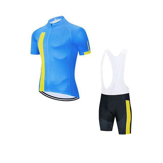 Men's Short Sleeve Cycling Jersey with Bib Shorts Cycling Jersey with Shorts Elastane Blue Sky Blue Bike Sports Clothing Apparel