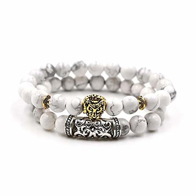 Natural Lava Tiger Eye Stone Beads Bracelet Antique Gold Lion Head Bracelet Set High Grade pulseras Hombre for Men