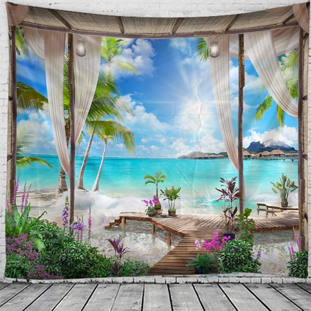 ablak táj fali kárpit művészeti dekor takaró függöny függő otthoni hálószoba nappali dekoráció kókuszfa tenger óceán tengerpart