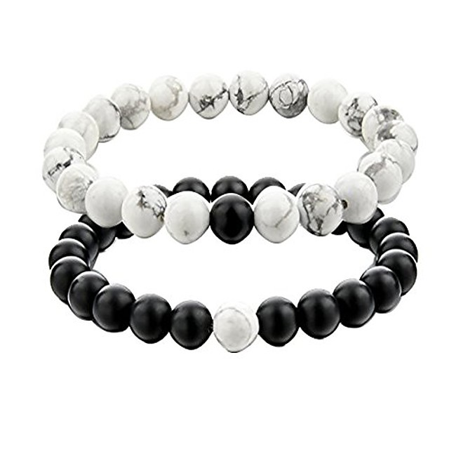 distance couple bracelet his and hers black matte agate & white stone 8mm beads bracelet