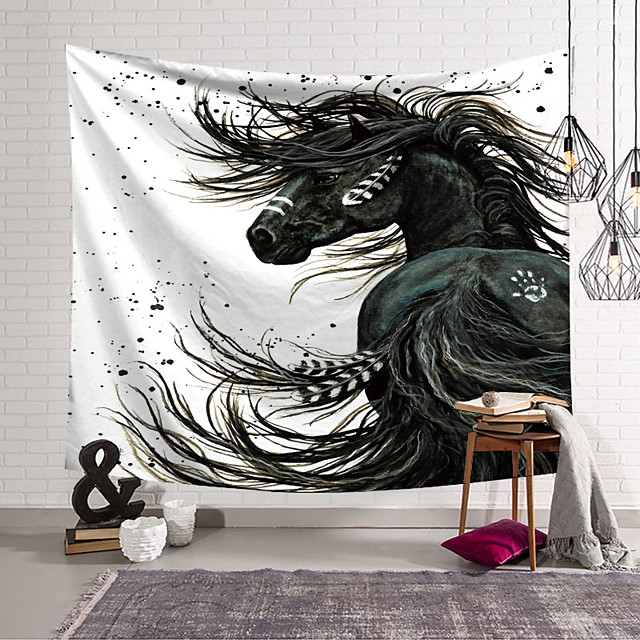 Wall Tapestry Art Deco Blanket Curtain Hanging Home Bedroom Living Room Dormitory Decoration Polyester Fiber Animal Black Horse