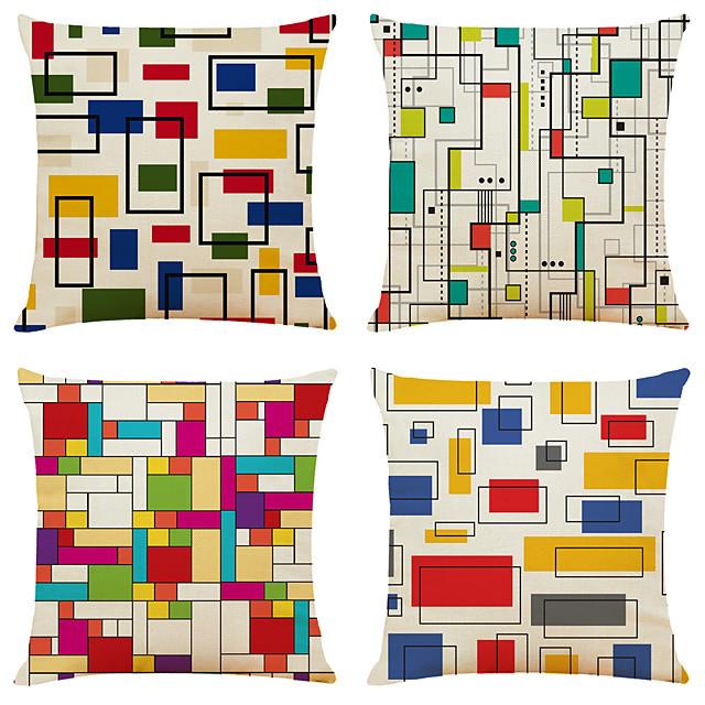 4 pcs Linen Pillow Cover, Print Simple Classic Square Zipper Traditional Classic