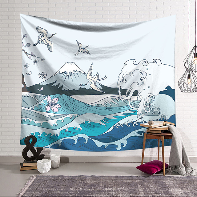 Kanagawa Wave Ukiyo-E Wall Tapestry Art Decor Blanket Curtain Hanging Home Bedroom Living Room Decoration Japanese Painting Style Sea Ocean Wave Mountain Fuji Crane