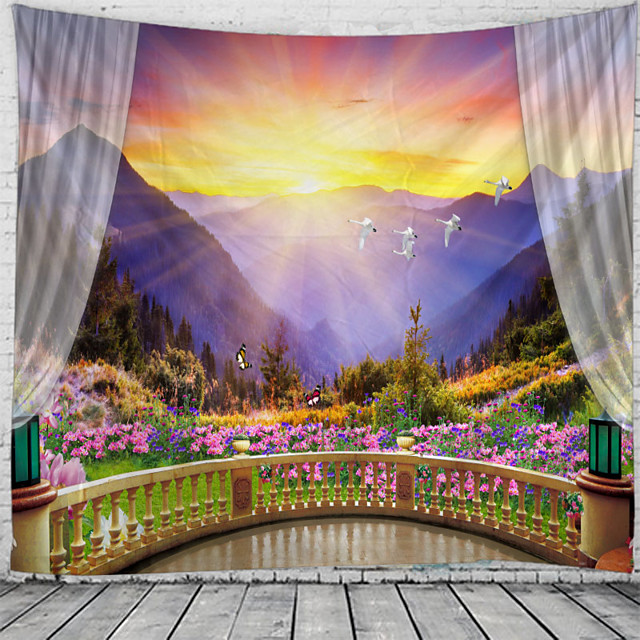 Window Landscape Wall Tapestry Art Decor Blanket Curtain Hanging Home Bedroom Living Room Decoration Balcony Flower Bird Mountain