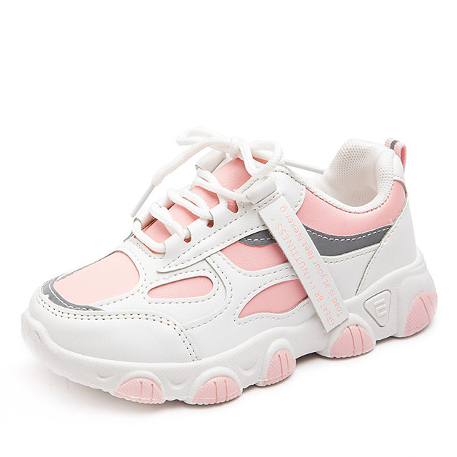 Boys' Girls' Trainers Athletic Shoes Comfort PU Little Kids(4-7ys) Big Kids(7years +) Daily Walking Shoes Black Pink Green Fall Spring