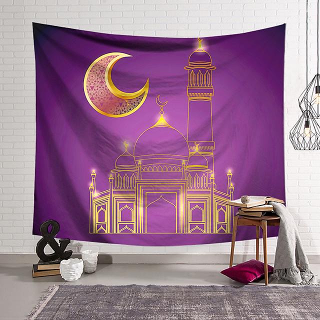 Eid Mubarak Islamic Muslim Ramadan Wall Tapestry Art Decor Blanket Curtain Hanging Home Bedroom Living Room Decoration Polyester