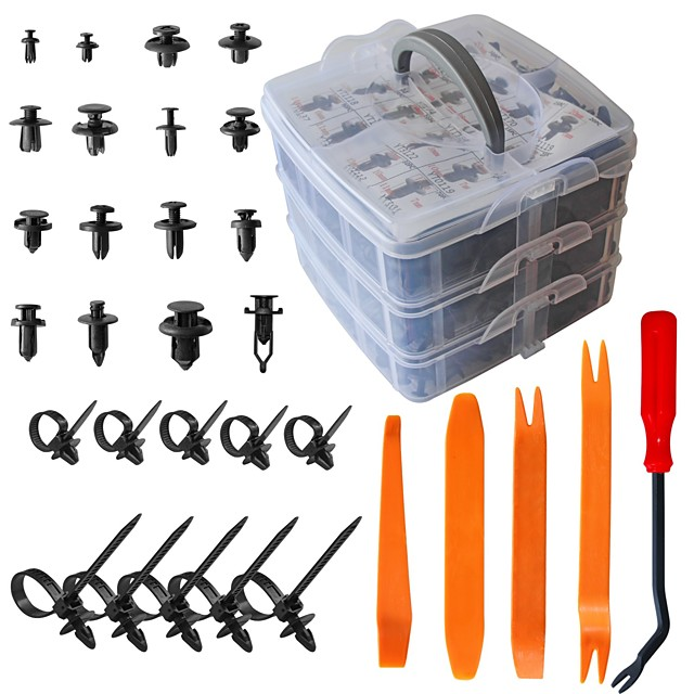 620pcs Car Plastic Rivets Fasteners Push Retainer Kit Most Popular Sizes Door Trim Panel Fender Clips for GM Ford Toyota Honda Chrysle With Reusable and Adjustable 10 Cable Ties and Fasteners Remover