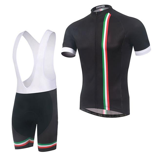 Men's Short Sleeve Cycling Jersey with Bib Shorts Summer Elastane Polyester Black Bike Sports Patterned Clothing Apparel