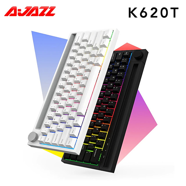 AJAZZ K620T Wireless Bluetooth 2.4Ghz USB Dual Mode Office Keyboard Luminous with Tablet Phone Holder 5,000,000 pcs Keys