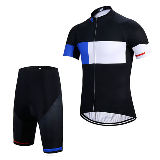 Men's Short Sleeve Cycling Jersey with Shorts Elastane Black Bike Sports Clothing Apparel